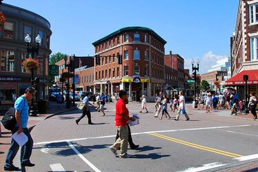 Harvard Square in Cambridge, Mass.
